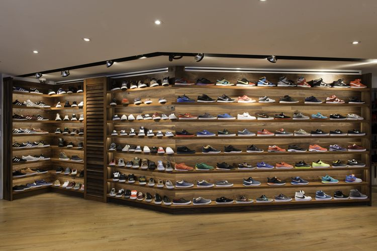 Walnut and Cherry Sneaker Display Wall with LED Lighting for Blades Skate  Shop c615479b073