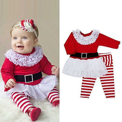 Kid Girl Christmas Costume Santa Claus Long Dress Xmas Party Gown with Headband