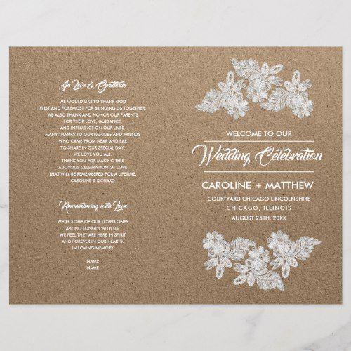 Lace Flowers Kraft Paper Folded Wedding Programs