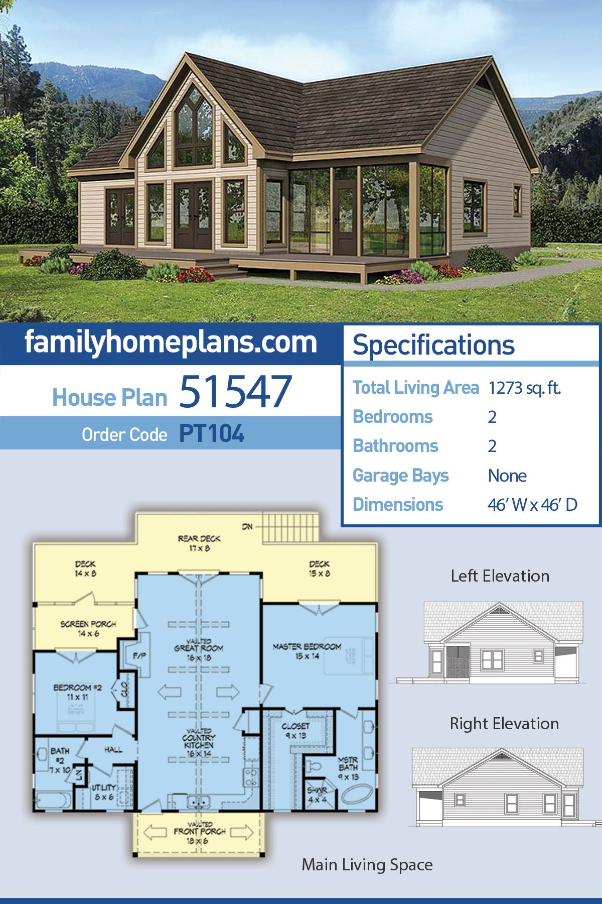 Traditional Style House Plan 51547 With 2 Bed 2 Bath Family