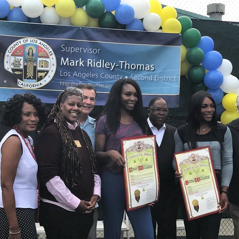 Tennis Courts At Eastranchodominguezpark In Compton Were Named Today After Tennis Champions Gold Meda Venus And Serena Williams Los Angeles Los Angeles County