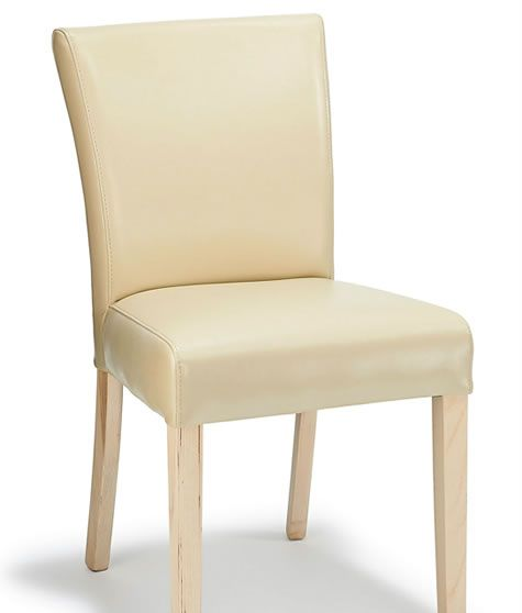 Edward Real Leather Dining Kitchen Chair Cream Padded Seat And Oak