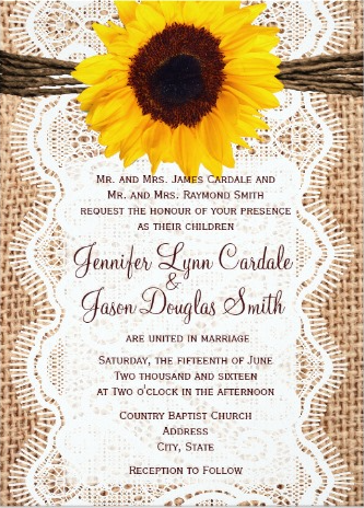 Rustic Country Burlap Lace Twine Sunflower Wedding Invitations.  Two Sided Design with printed burlap, lace, twine bow, and sunflower design.  Easy to customize template to make your own beautiful country sunflower wedding announcements.  Matching RSVP Cards and Bridal Shower Invites also available.  #wedding