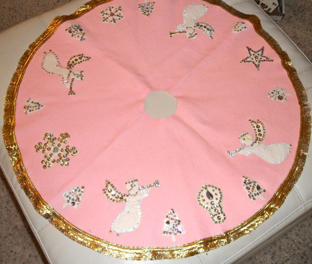 Vintage Kitschy Pink Felt Christmas Tree Skirt Sequins Angels from ...