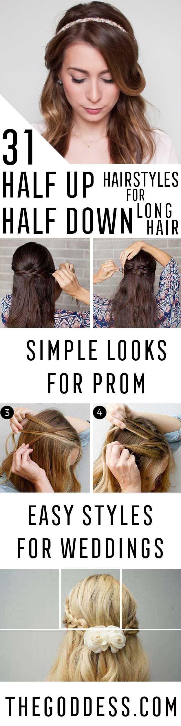 amazing half uphalf down hairstyles for long hair half
