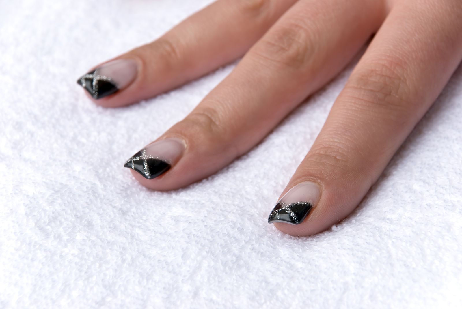 French+Manicure+Designs | Black Web French Nail Manicure | Simple ...