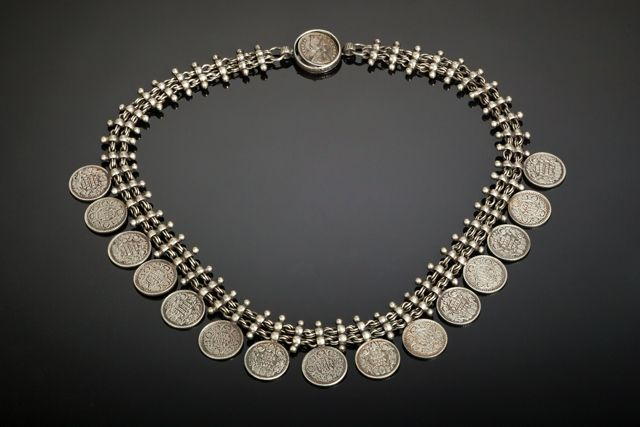 Coin Necklace by Nakarali. Tribal belly dance jewelry.