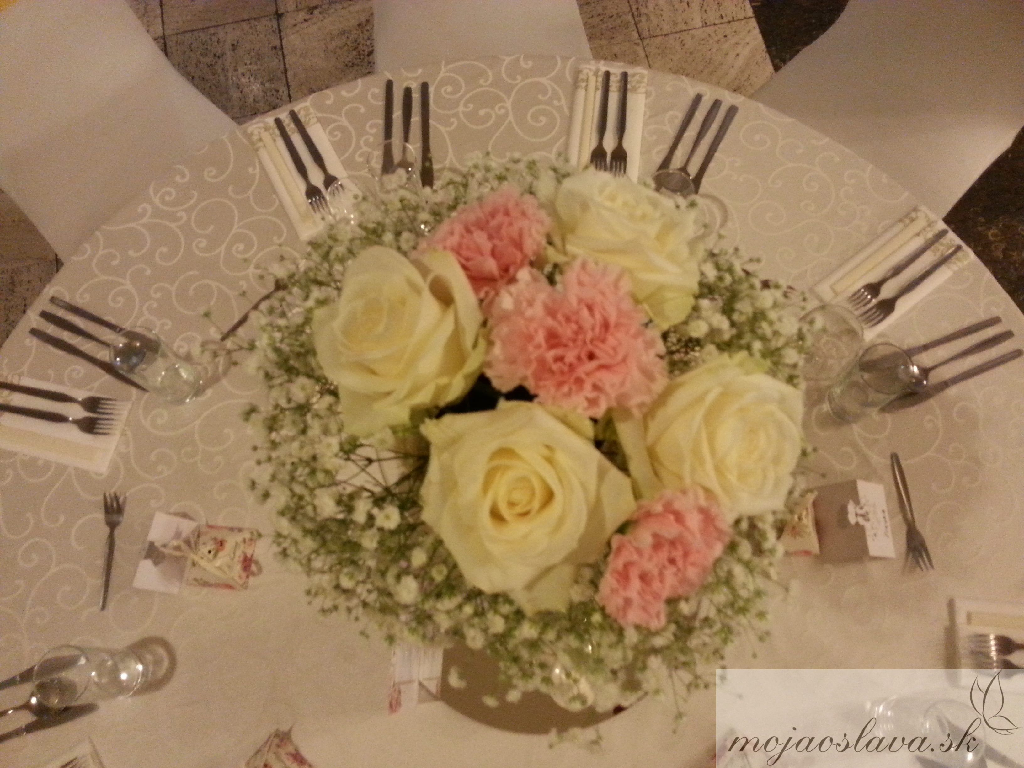 Pink Dianthus And White Roses With Gypsophila Wedding Table Decoration
