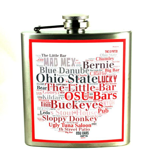Ohio State, University bars- flask - unique gift for the Buckeye student