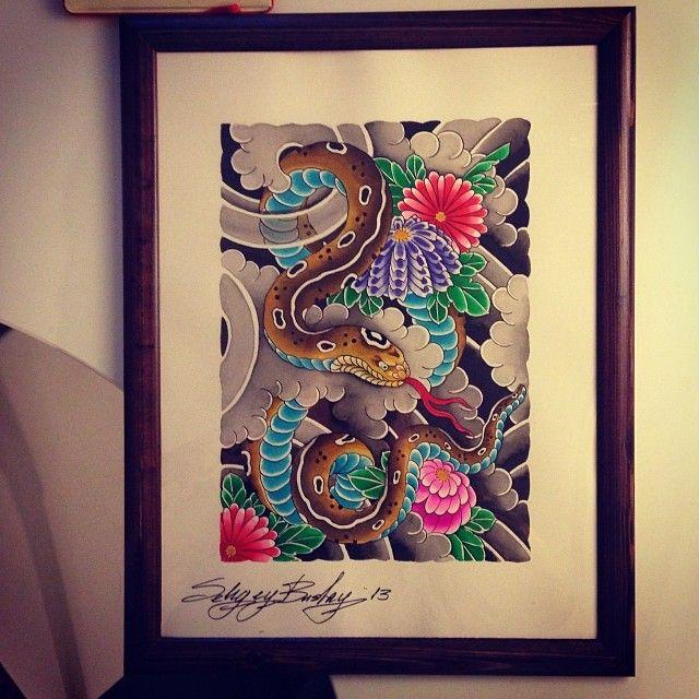 Рисовал в подарок! @kleinekanzler #painting #tattoo #tatrussia #tattooinrussia #tattooartist #snake #flowers #буслай #буслайтату #тату #татуировка #подарок #картинка #рисунок