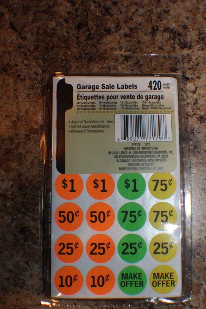 420 Neon Yard Garage Rummage Price Tag Sticker Labels Preprinted Blank
