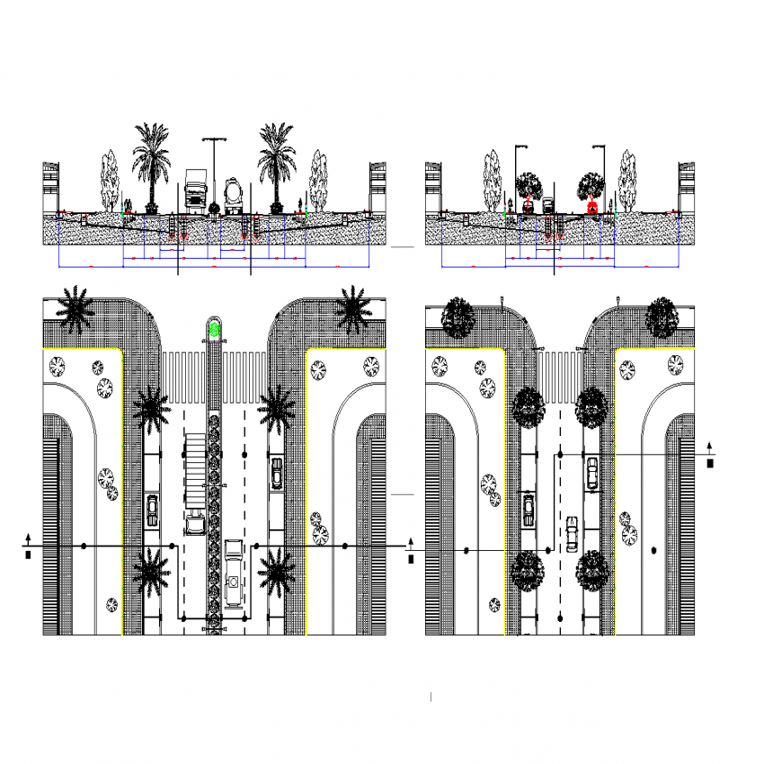 Section And Plant Of Way Side Sand Pavement Details Of Installations Dwg File Landscaping Detail In Tree And Plant Detail Section Installation Pavement Sand