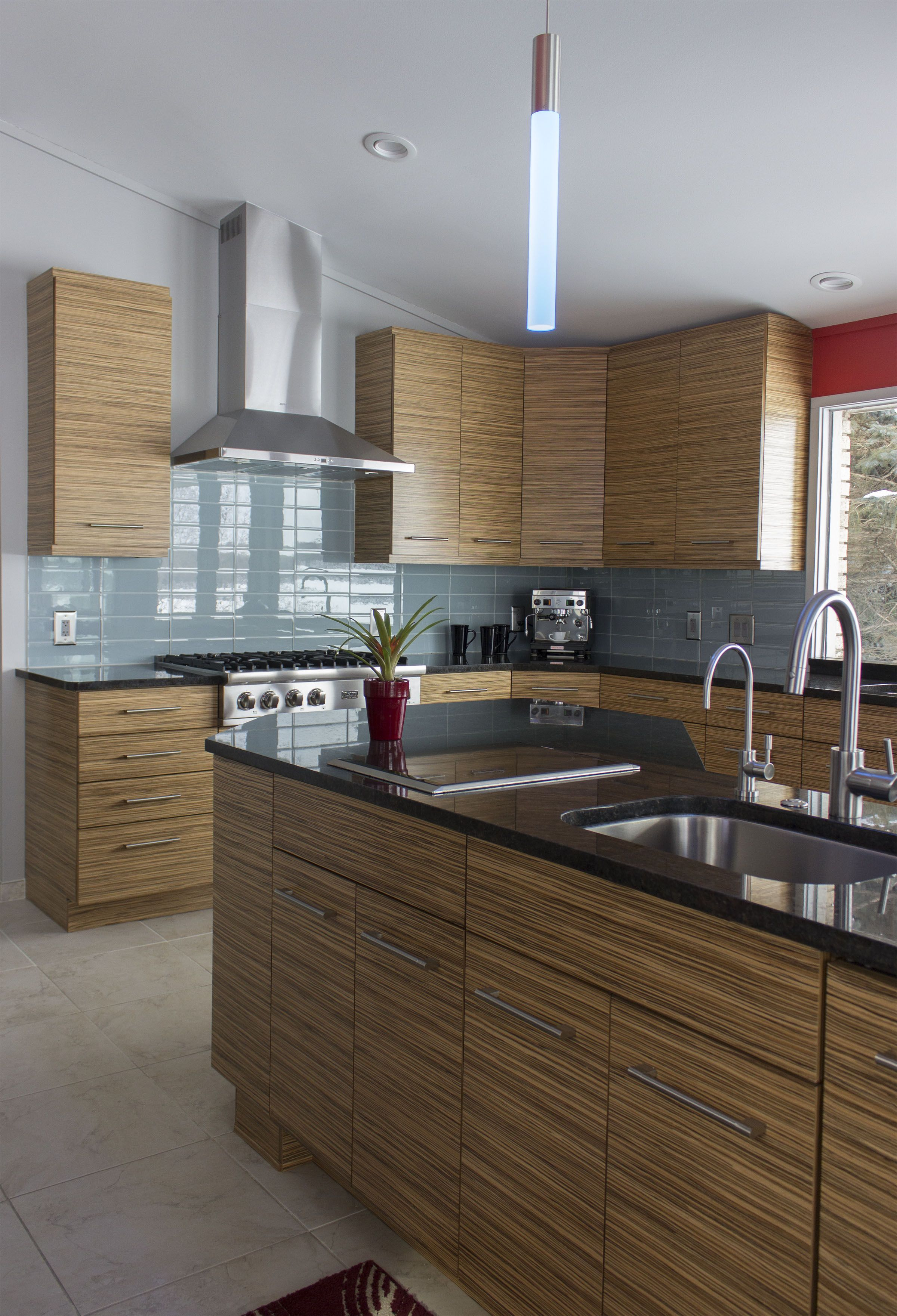 Photo Courtesy Of April Parker Ksi Designer Dura Supreme Alectra Metro Horizontal Zebrawood In Na Modern Wood Kitchen Modern Kitchen Cabinets Kitchen Seating
