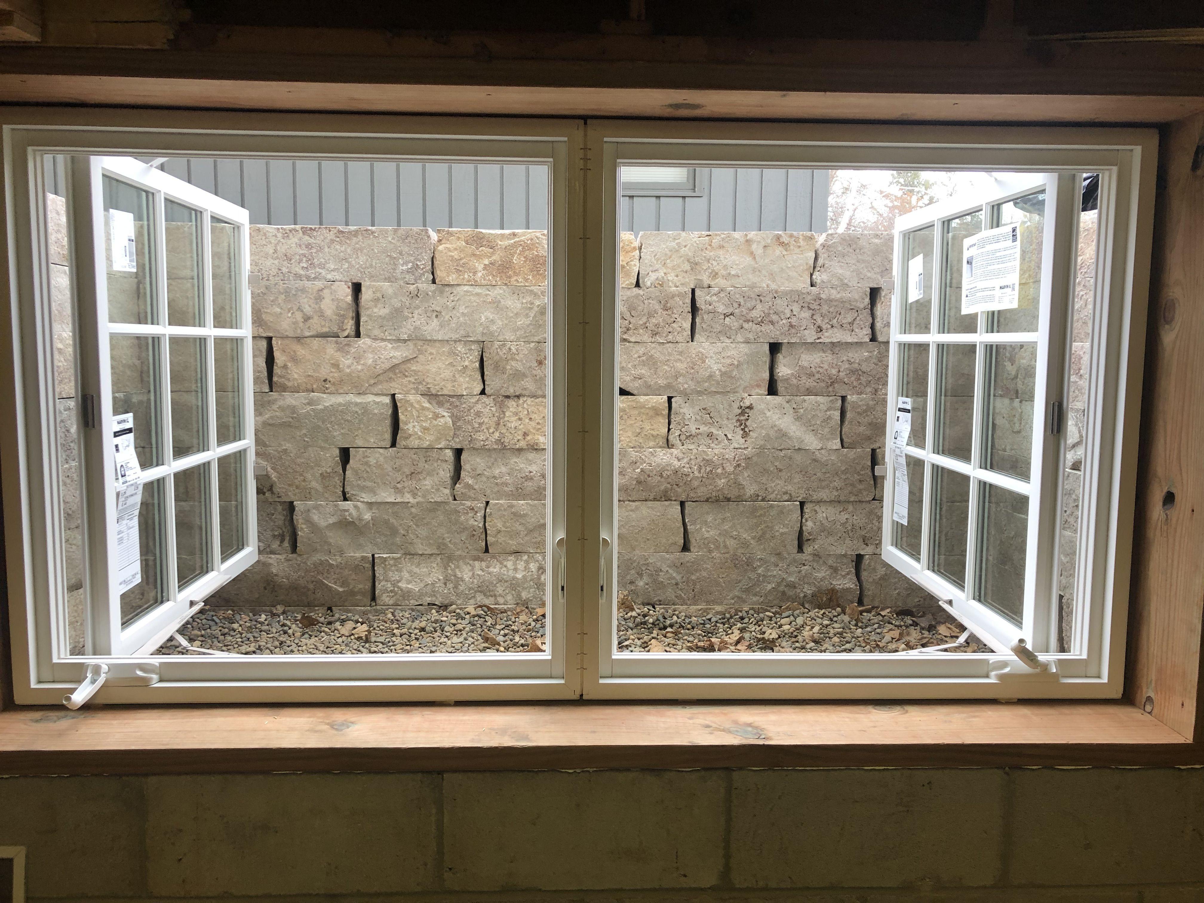 Natural Stone Egress Window Well Egress Window Egress Window Well Double Casement Windows
