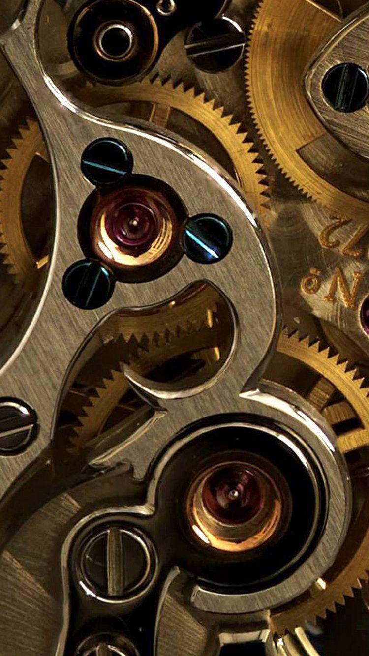 Golden Watch Gears Closeup iPhone 6 Wallpaper Best