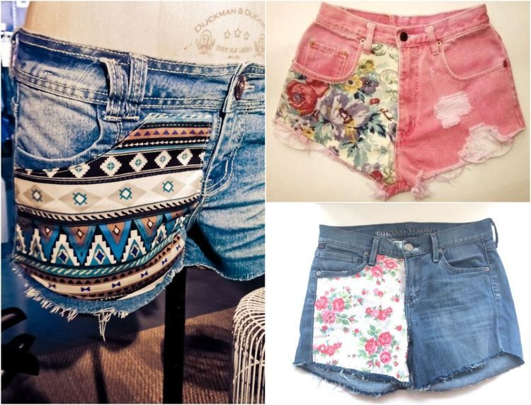 denim shorts mit stoff aufpeppen azteken und blumenmuster mode pinterest blumenmuster. Black Bedroom Furniture Sets. Home Design Ideas
