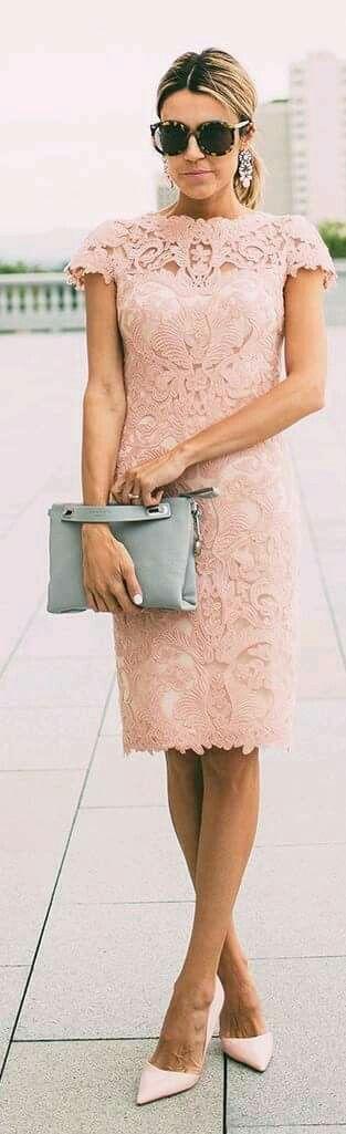 Hermosos Vestido De Encaje Rosa Palo Vestidos De Encaje