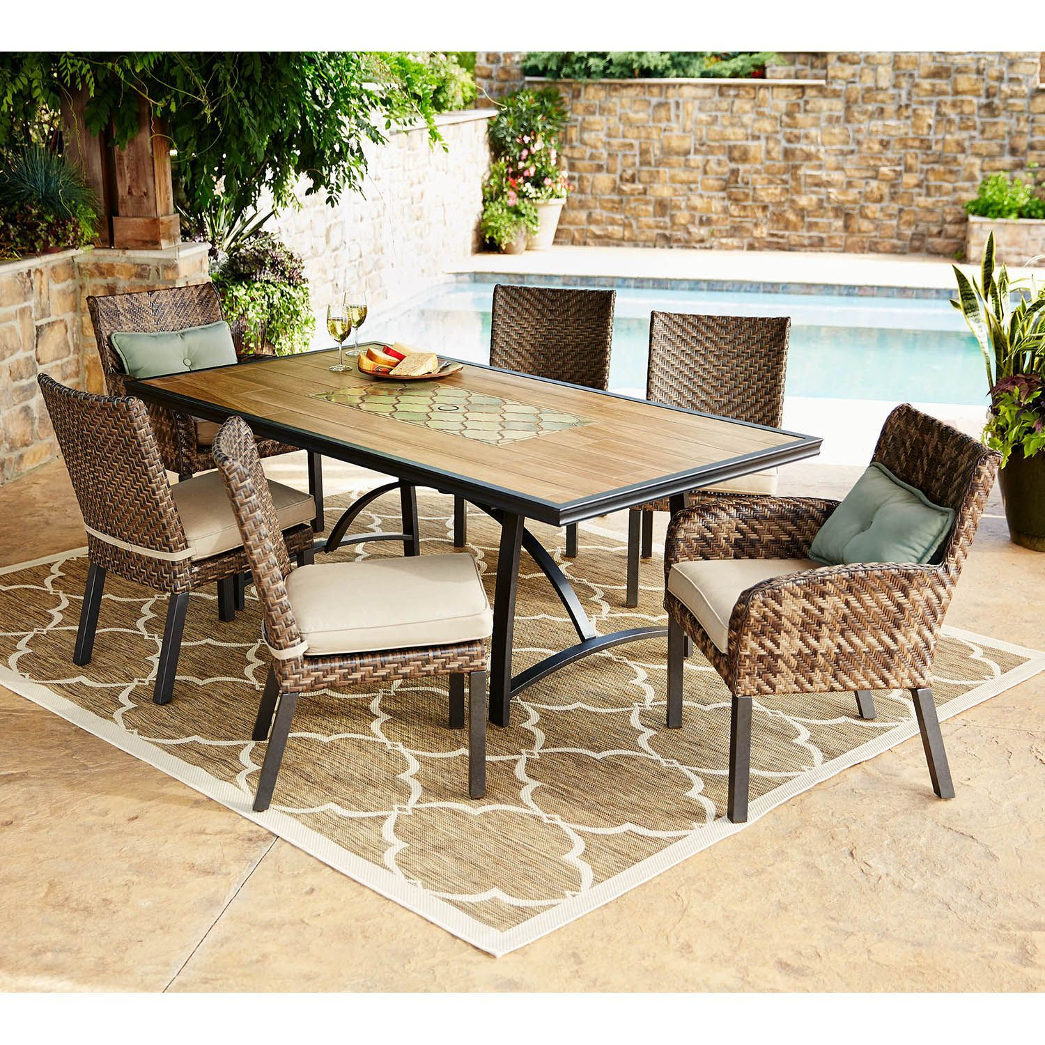 members mark heritage 7 piece balcony height dining set with