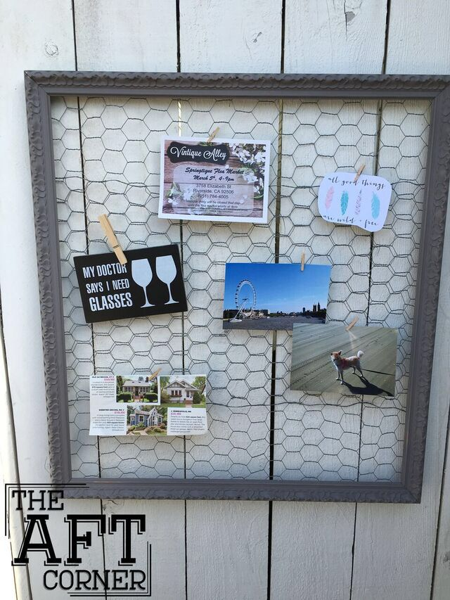 Get Organized • repurposed chicken wire and frame bulletin board ...