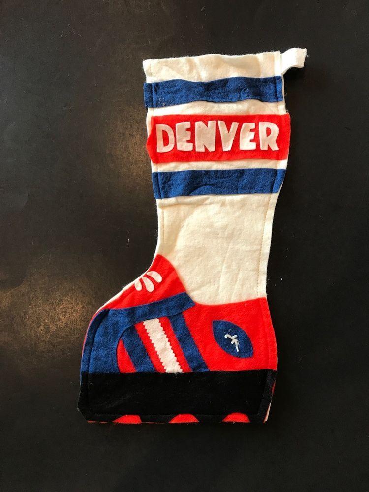 Handmade felt christmas stocking denver broncos football