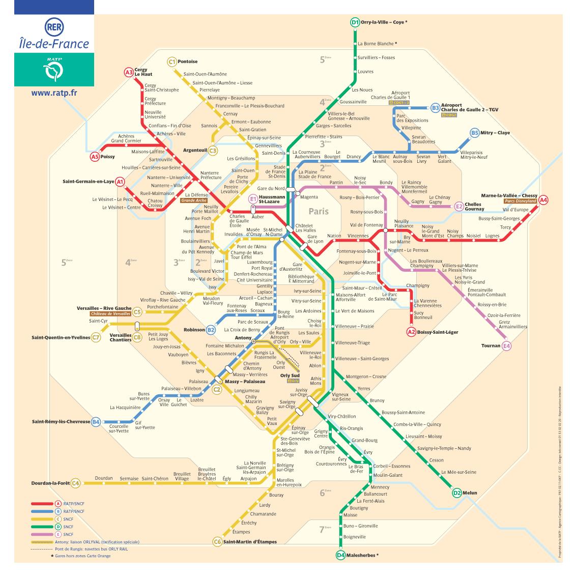 Paris Rer Map Paris Map Paris Metro Map Train Map