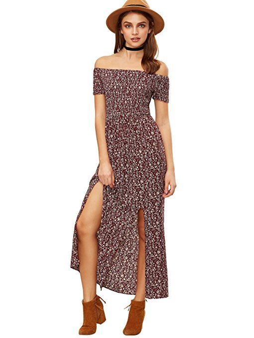 a05bd4df3c76 Romwe Floral Maxi Dress Bohemian Print Off Shoulder Summer Beach Dress  Burgundy L