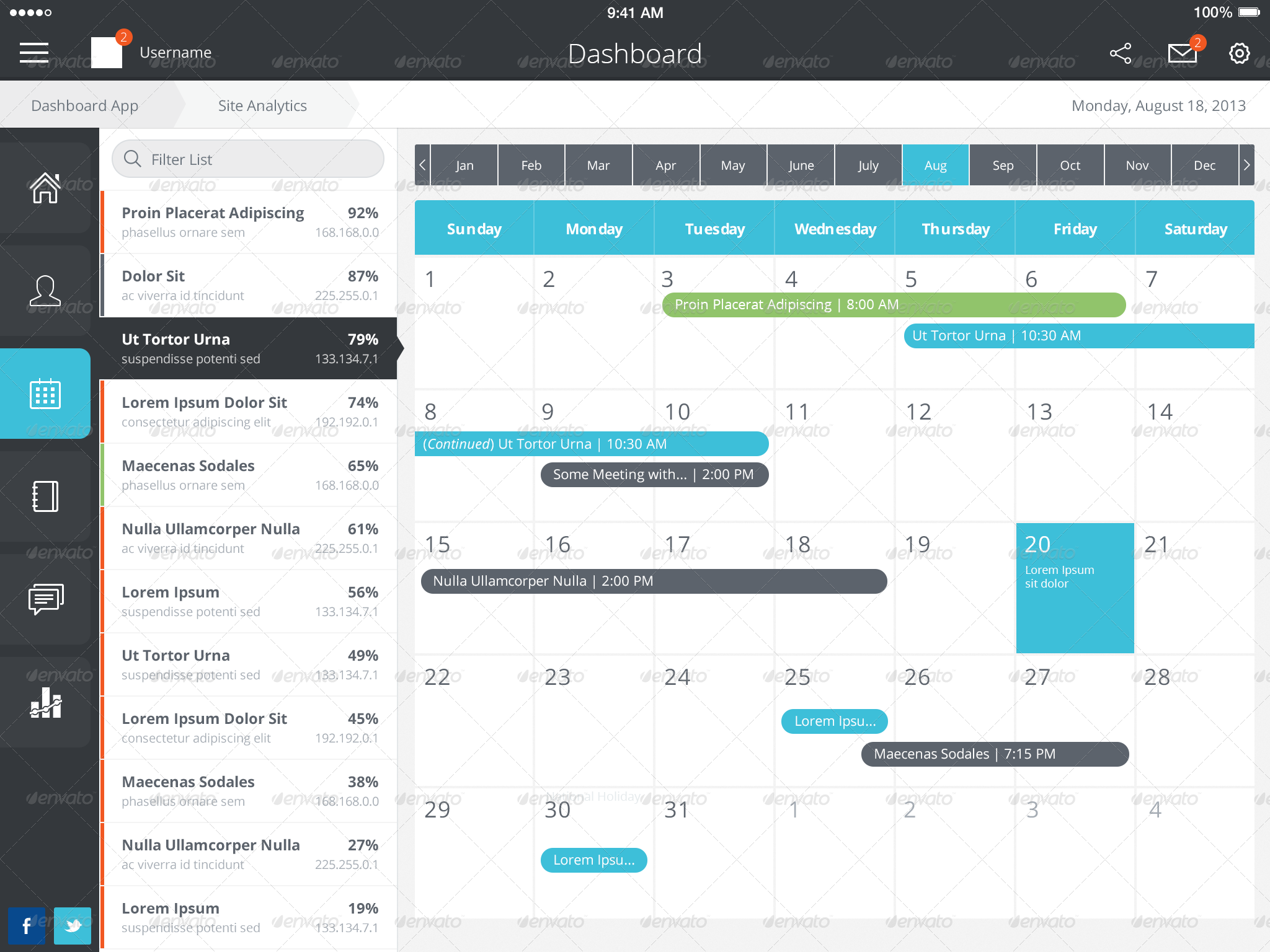 Calendar Design Bootstrap : Ios ipad tablet app dashboard as a fully designed