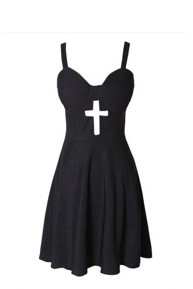 Plain Cross Cutout Fitted Zipper Bustier Dress - Pastel Goth