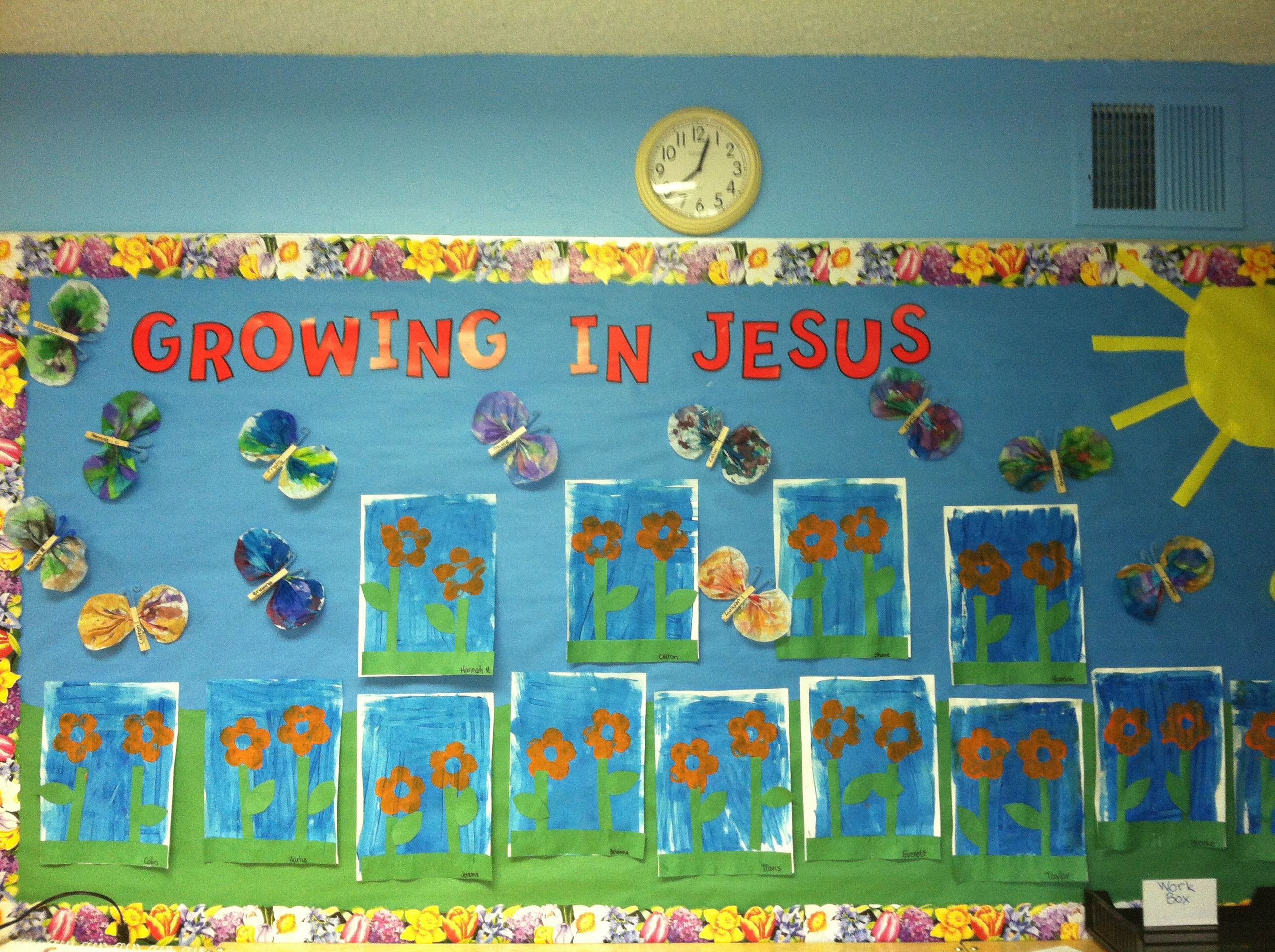 Growing In Jesus Garden Bulletin Board By The Wonderful Mrs Jessica
