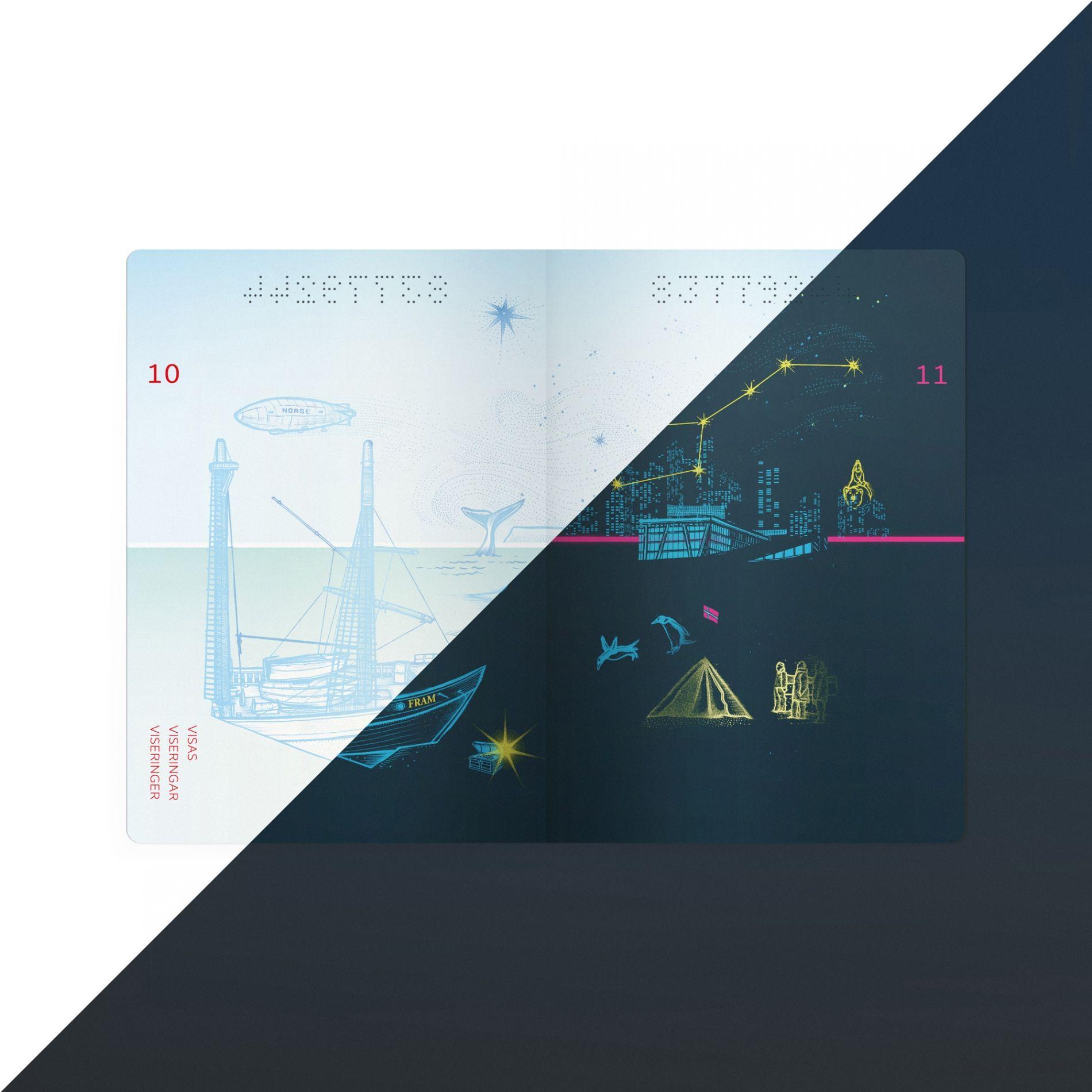 Tank kom til finalerunden i konkurransen om utforming av nytt pass og ID-kort.Vi har kalt vårt konseptEventyrlyst.Illustrasjonene er utarbeidet av Peter-John De Villiers.