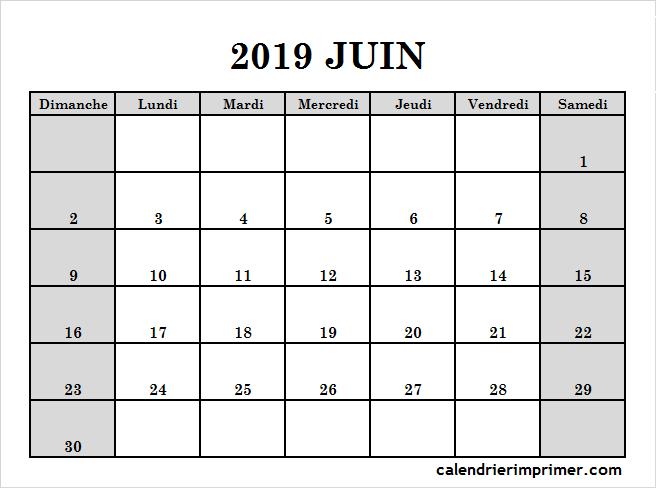 Imprimer Calendrier 2019 Juin Pdf Calendrier Juin