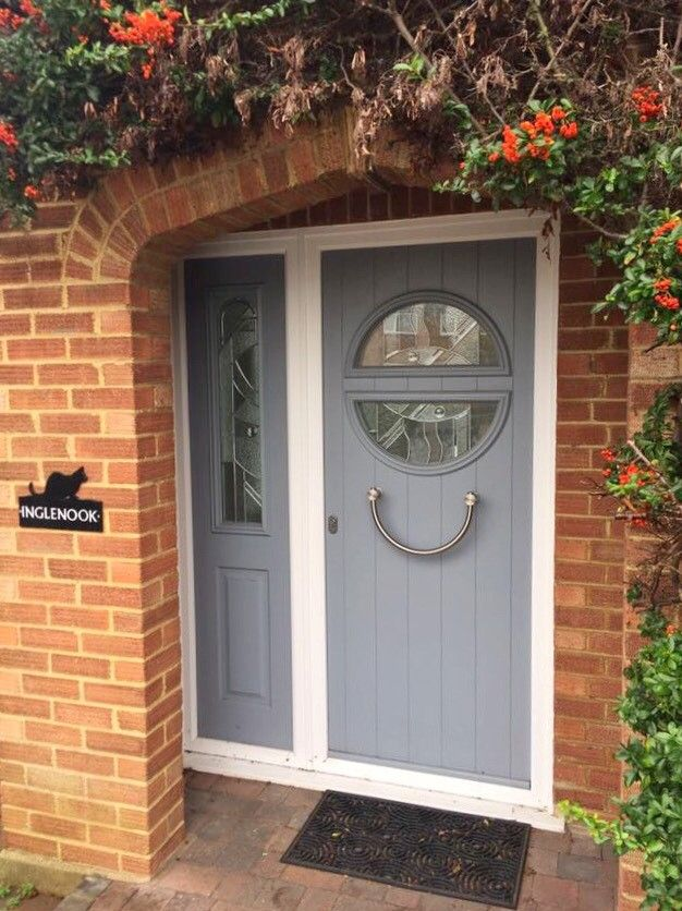 Stylish And Unique Solidor Fitted By Jewel Windows Finished In French Grey With Abstract Glass B Cottage Front Doors Exterior Front Doors Front Porch Design
