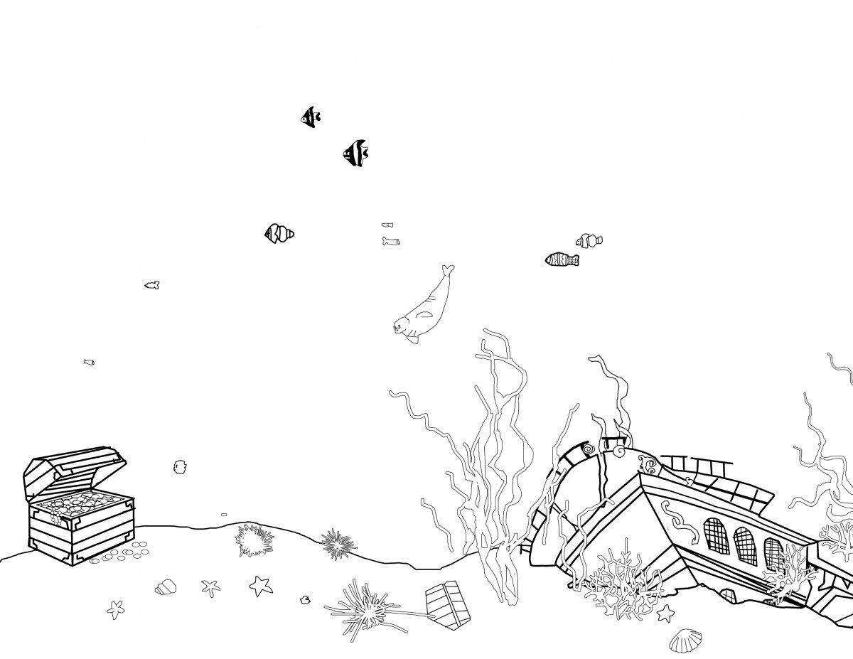 Underwater Scene With A Treasure Chest And Sunken Ship A Few Fish
