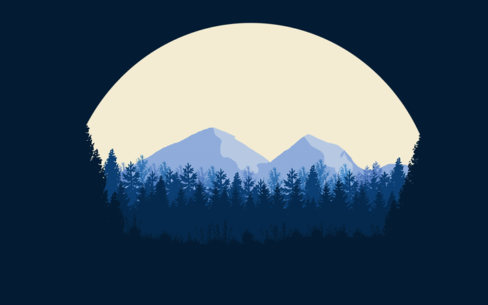 Download Wallpapers 4k Moon Mountains Forest Minimal