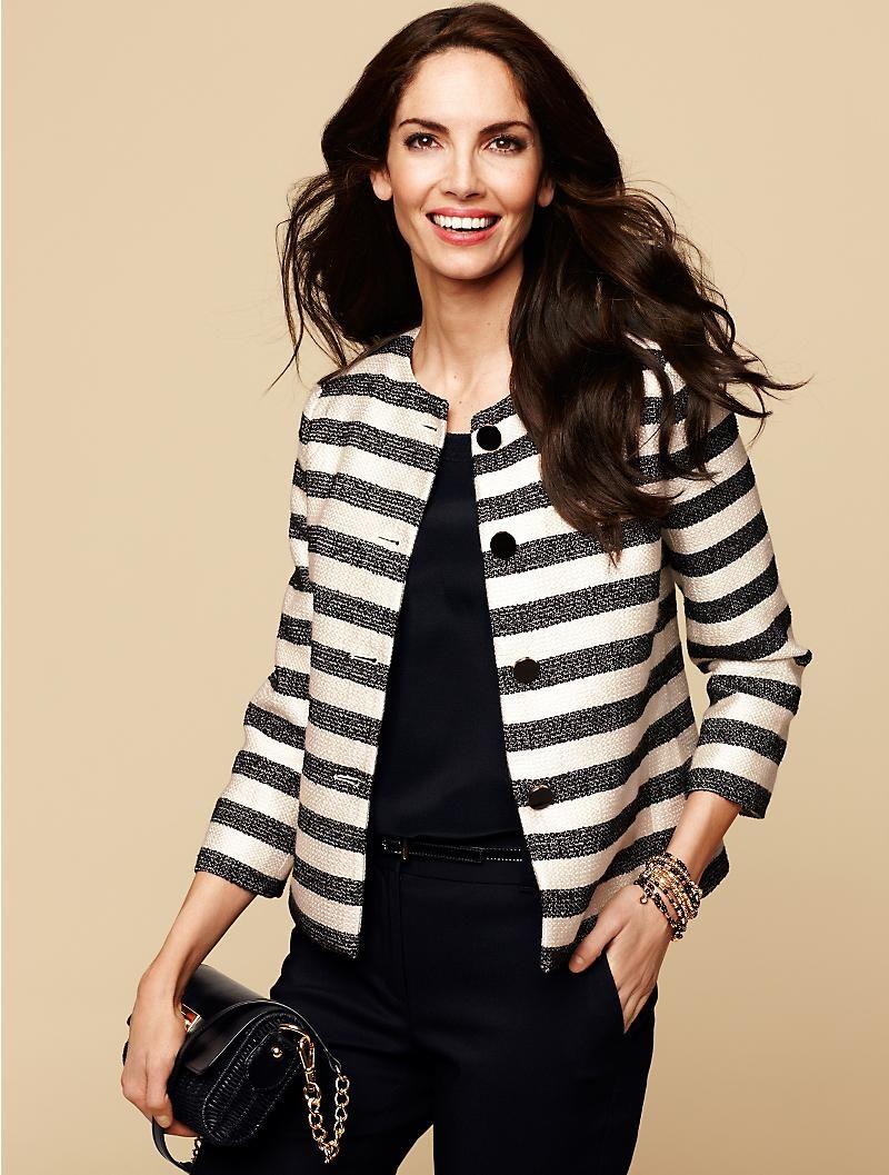 Talbots Cabana Stripe Jacket Jackets And Outerwear Petites Clothes For Women Striped Blazer Jacket Striped Jacket [ 1057 x 800 Pixel ]