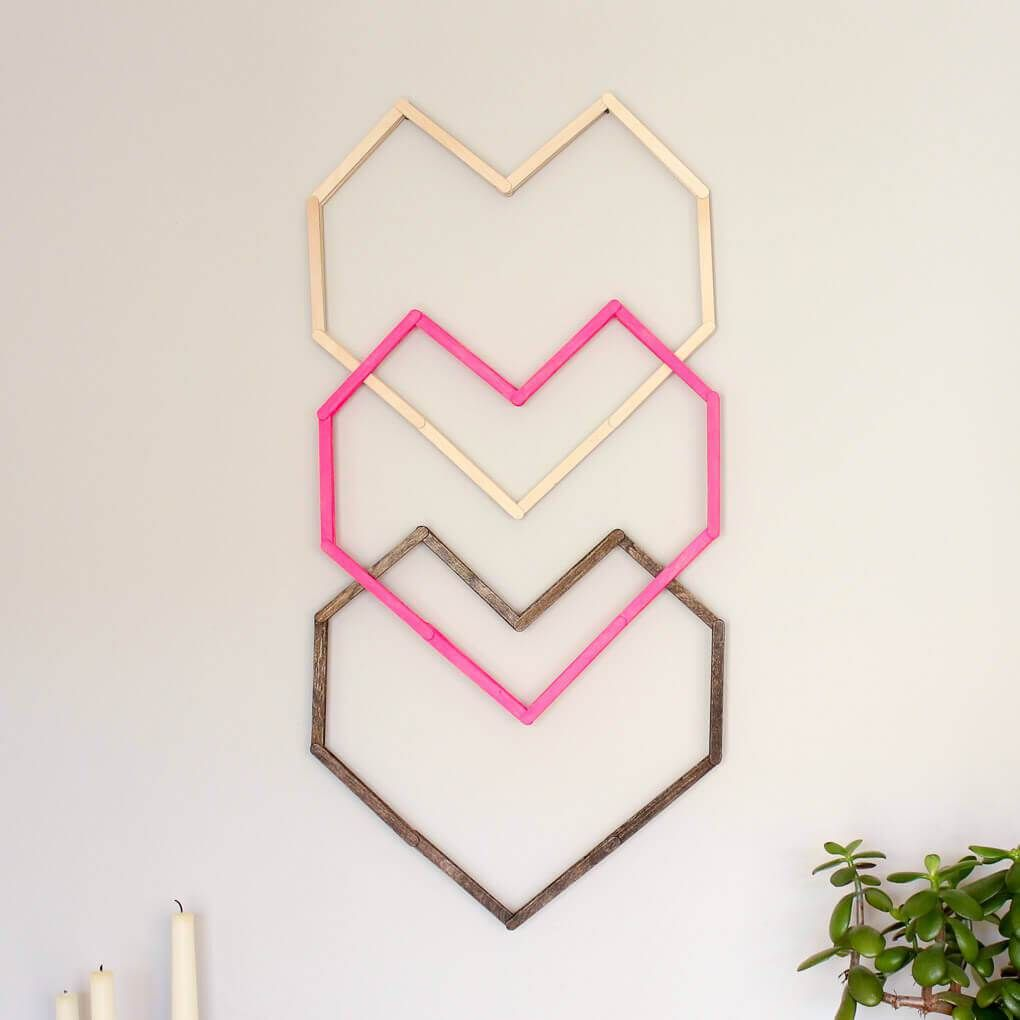 Popsicle stick hexagon shelf easy diy wall art diy wall art
