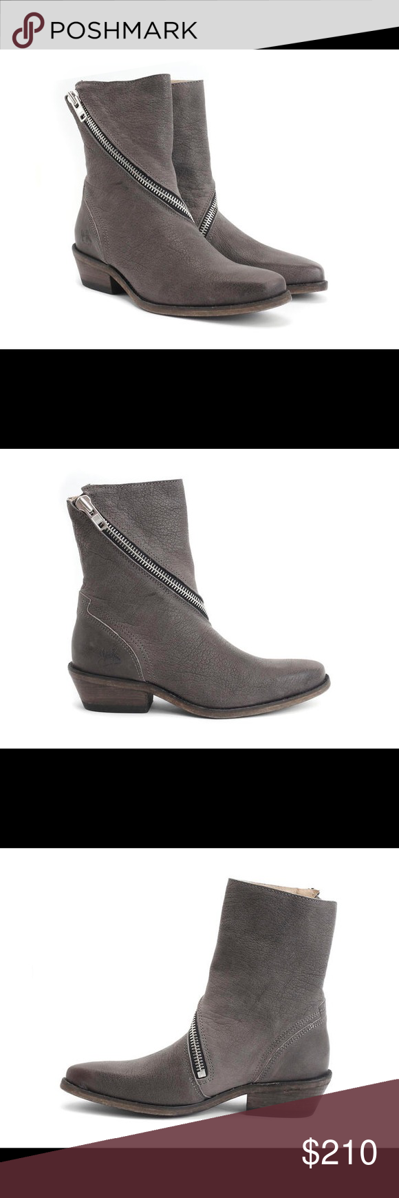 John Fluevog grey ankle zipper boots Brand new in box, with dust bag! John Fluevog Shoes Ankle Boots & Booties