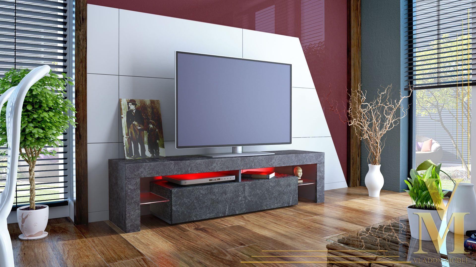 details zu tv lowboard board fernseher schrank tisch m bel rack regal lima schieferoptik lulu. Black Bedroom Furniture Sets. Home Design Ideas