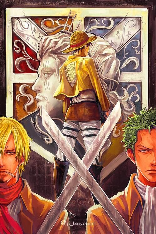 Attack On One Piece Onepiece Attack On Titan Crossover One Piece Crossover One Piece Manga