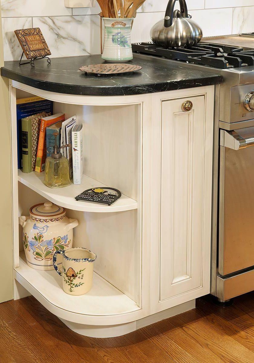 Countertop Cookbook Shelf A Simple Yet Elegant Way To Revamp Your Kitchen Decor Around The World In 2020 Corner Storage Cabinet Rounded Kitchen Cabinets Curved Kitchen Cabinets