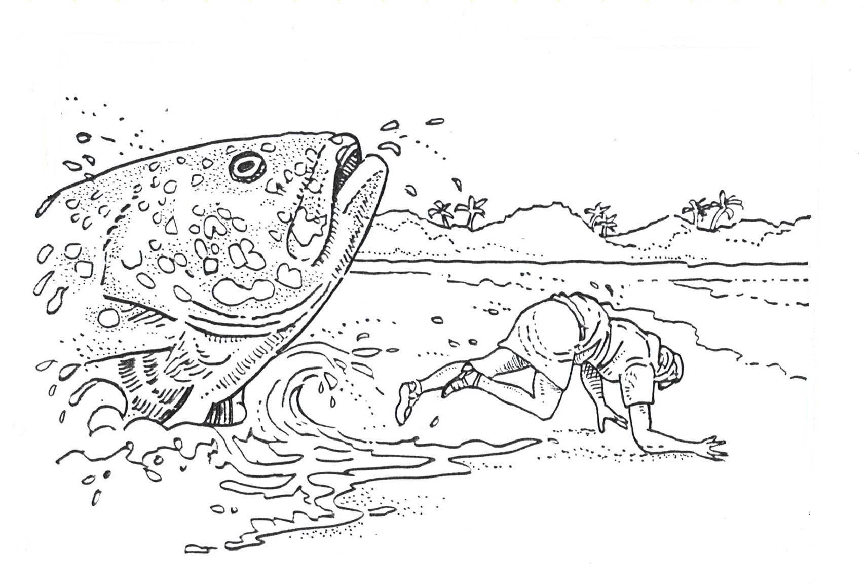 Jona En Grote Vis Kleurplaat