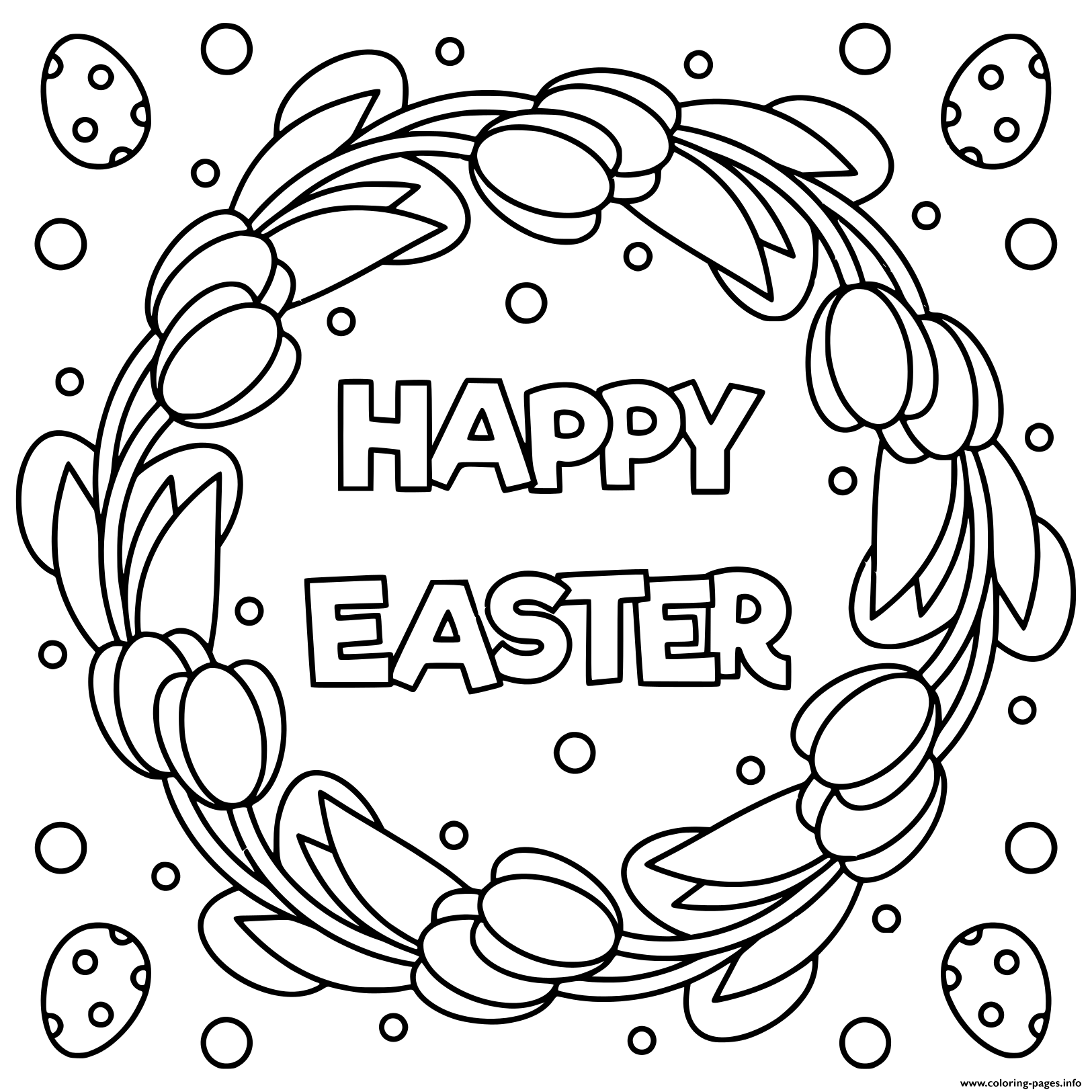 Print Happy Easter Black And White Illustration Coloring Pages Easter Coloring Pages Easter Coloring Book Coloring Pages