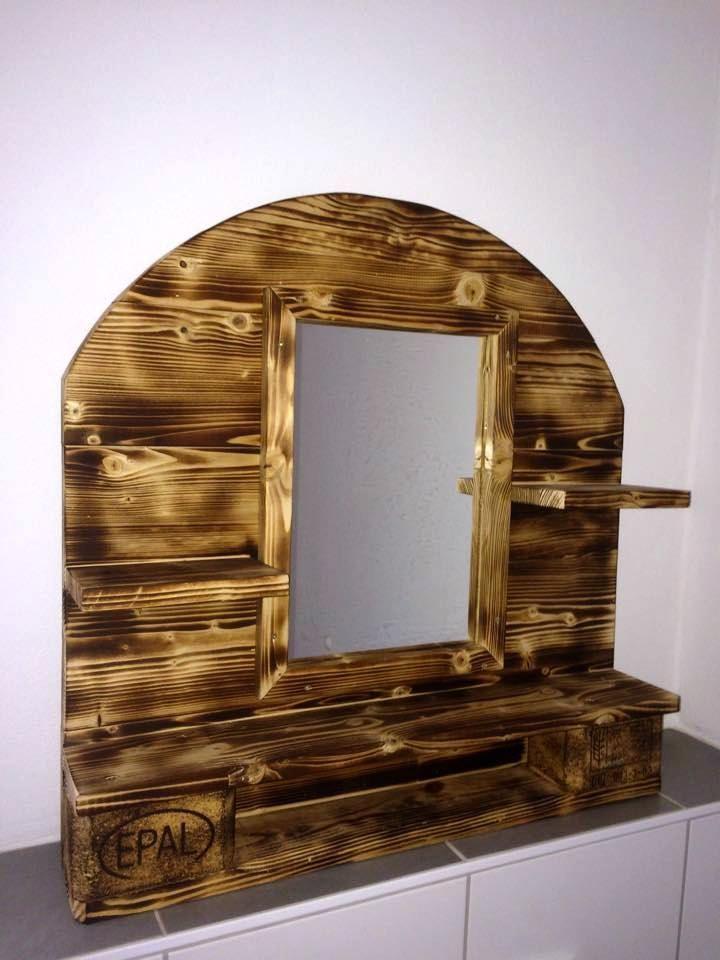 Scorched Pallet Arched Bathroom Mirror Shelf