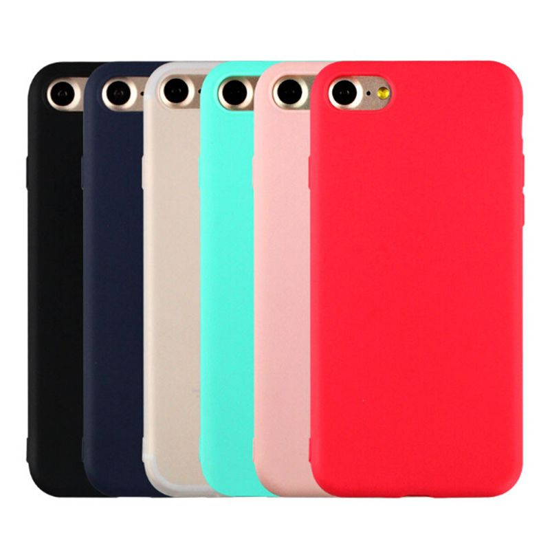 Solid Candy Color Matte Skin Case for iPhone 6S TPU Rubber Soft Back Cover for iPhone 6 6S Silicone 4.7 inch Black Blue Colors