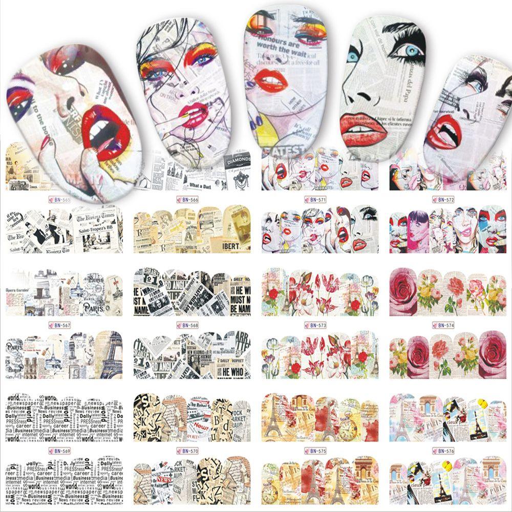 Mix 12 Designs Newspaper Nail Sticker Water Transfer Decals New Full ...