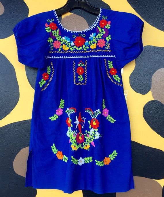 Childrens Vintage Royal Blue Cotton Dress  Heavily embroidered and just plain awesome!!!  Size 5/6 Chest: 26 Length: 26 Across Shoulders: 11