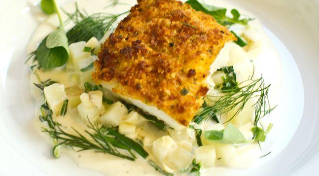 Stefan S Potato Crusted Cod Over Ragout Recipe Sea