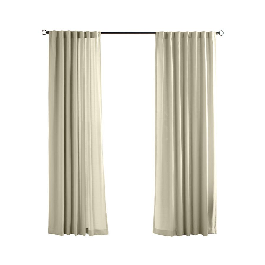 Solaris 108 In L Cream Canvas Solid Outdoor Curtain Panel At Lowes