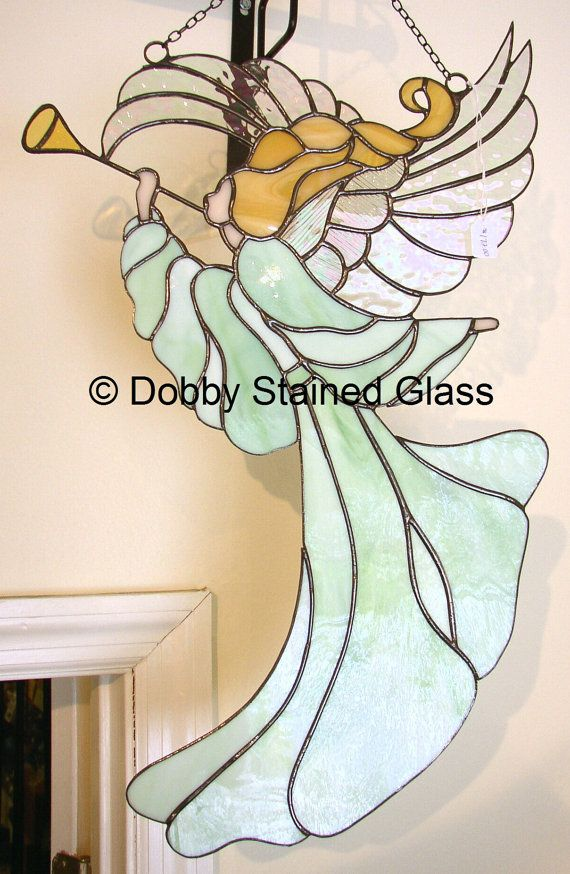Stained Glass Angel Panel by DobbyStainedGlass on Etsy, $172.00 ...