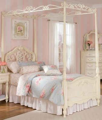 Lea Jessica Mcclintock Full Canopy Bed In Antique White Girls Bed Canopy Shabby Chic Girls Bedroom Shabby Chic Girl Room